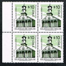 CHILE 1993 STAMP # 1600 MNH BLOCK OF FOUR HERITAGE CHILOE'S CHURCH