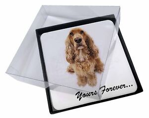 4x Cocker Spaniel Dog 'Yours Forever' Picture Table Coasters Set in Gi, AD-SC22C