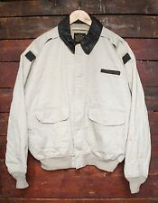 VTG AVIREX USAAF TYPE A-2 COTTON BOMBER FLIGHT JACKET W/ LEATHER COLLAR USA M/L