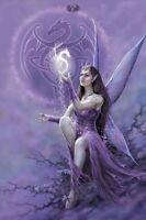 DRAGON SPIRIT 24x36 FAIRY ART POSTER Fairy Faery Spiral Dragons Fantasy