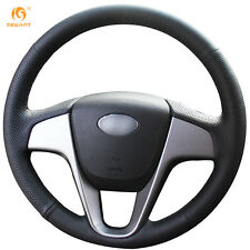 Leather Steering Wheel Cover for Hyundai Solaris Verna i20 Accent 2012-15 #HY05