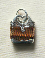 custom jump ring Free Shipping ! New Brighton enameled Straw handbag charm on
