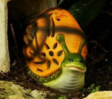 (2) Qvc Garden Decor Solar Powered Candle Hand Painted Luminary Snail Figurine