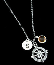 Compass Necklace,Compass Jewelry,Best friend gift-Personalized Initial Necklace