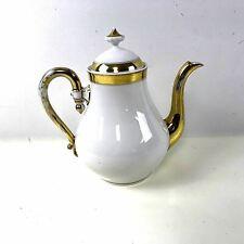 Old Paris Porcelain Tea Coffee Pot Elegant White W/ Gold