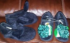 New Baby Crib Black Shoes Lot of 2 Girl's Carters & Gold Bug Size 3 Soft & Sweet