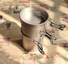 Health Titanium Pot Camping BBQ Picnic Cookware Set 400ml+800ml+1.2L/295g