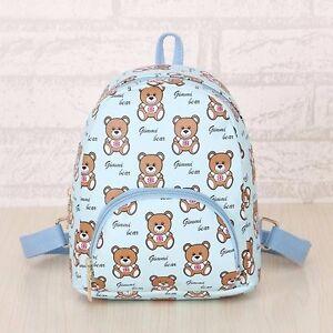 Kids Children British flag bear canvas waterproof bag School Bag Backpack