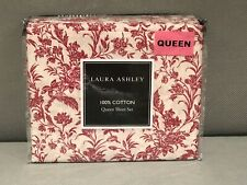Laura Ashley QUEEN Sheet Set Red Ivory PAISLEY 100% Cotton Ashington New