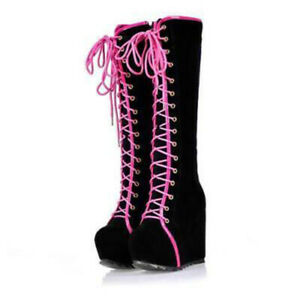Womens Casual Punk Lace Up Platform Wedge Heel Knee High Boots Gothic Shoes