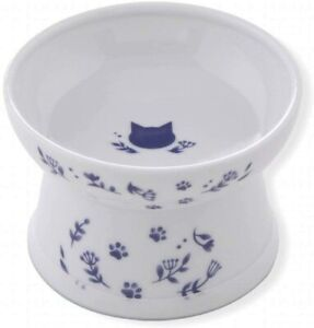 Necoichi Cat Porcelain Food Bowl Dish with Leg Cat Navy Regular Size