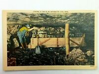 Vintage Postcard 1930's Loading a Car in an Anthracite Coal Mine