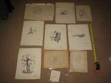 ARTIST RICHARD JOSEPH ERICSON LOT (10) ORIGINAL AUTHENTIC ARTWORK SKETCHES RARE
