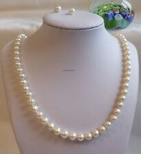 Genuine 7-8mm near round freshwater pearl necklace+earring L55cm