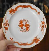LOVELY CIRCA 1924 MEISSEN CROSSED SWORDS DRAGON RED SALAD DESSERT PLATE - HAVE 2