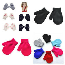 Childrens winter mittens gloves girls boys toddler 2-6 years red black grey