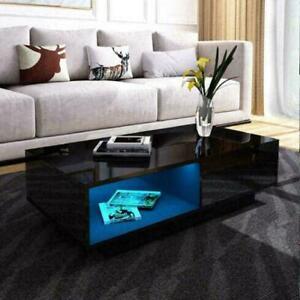 PREMIUM Coffee Table LED BLUE Living Room Furniture High Gloss  Storage Modern