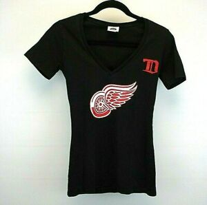 NHL Short Sleeve Women's Medium T-Shirt Black Detroit Red Wings Tapered