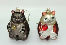 Sitting Cats Christmas Ornaments (Set of 2)
