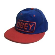 Obey Snapback Flatpeak Cap Size Medium 7 1/8 (57cm) Blue & Red Spellout Mens Hat