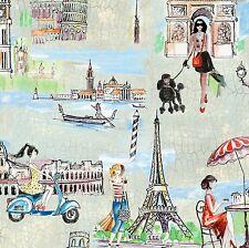 Fabric European Travel Eiffel Tower Rome etc.. on Cotton by the 1/4 yard BIN
