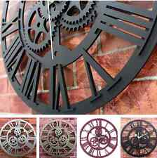 Vintage Large Round Metal Color Steampunk Skeleton Wall Clock Black Home Decor