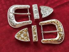 SALE - TWO-FOR-ONE-PRICE THREE PIECE BUCKLE SETS SILVER PLATED AND GOLD PLATED