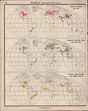 1939 MAP ~ WORLD PRINCIPAL FOOD CROPS WHEAT COCOA TEA BARLEY COFFE CANE SUGAR