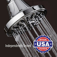 AquaDance 4 Inch Premium High Pressure Shower Head with 6 Settings