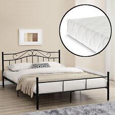 Metallbett mit Matratze 140x200cm Schwarz Bett Bettgestell Doppelbett