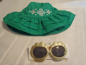 Gymboree The Green Scene 4T-5T Sunhat Hat Size 4 & Up Glittery Gold Sunglasses N