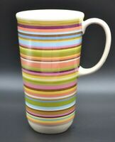 Longaberger Pottery Tall Travel Tumbler Cup Mug Striped Pink Blue Multi Colored