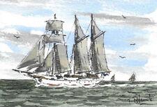 ORIGINAL AQUARELL - Dreimastschoner auf dem Ijsselmeer.