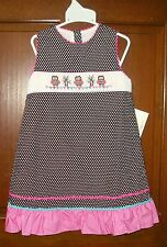 CUKEES BOUTIQUE GIRLS 5 YR. HAND SMOCKED OWLS DOTTED JUMPER/DRESS NWT