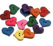 Heart Buttons 2cm 10 Pieces - Mixed Colours Australian Seller
