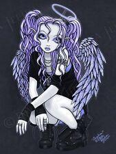 Violet Gothic Tattoo Angel Big Eyed Fairy Myka Jelina Art Print Signed Angelina