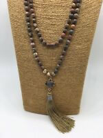 Free shipping Fashion long knot leopard skin jasper stone beads Tassel necklace