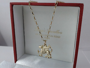 9ct Gold Solid Welsh Dragon 18 inch Pendant. Hallmarked.