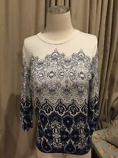Lands' End White Blue Damask Tapestry Crew Neck Sweater Supima Cotton M Petite