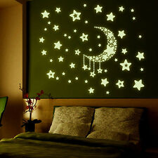 DIY Night Light Glow In The Dark Moon Stars Wall Stickers Home Decor Decals LM