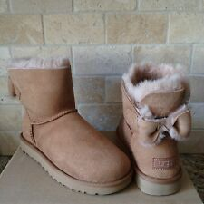 UGG NAVEAH BAILEY BOW CHESTNUT SUEDE SHEEPSKIN MINI BOOTS SIZE US 5 WOMENS