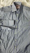 THOMAS PINK Blue striped Dress Shirt French Cuff Siz 15 38 slim fit