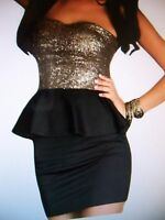 Women's Mini Strapless Party Club Holiday Dress - M - New - Black & Gold