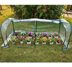 Transparent Greenhouse Protection W Zipper & Steel Frame Plant Garden Fruit Veg