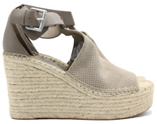 MARC FISHER LTD Annie Womens Suede Platform Heel Sandals Taupe Size 9.5 NEW