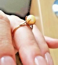 9 CT YELLOW GOLD SOLITAIRE PEARL RING * SIZE O/P * NEW* HALLMARKED * BEAUTIFUL
