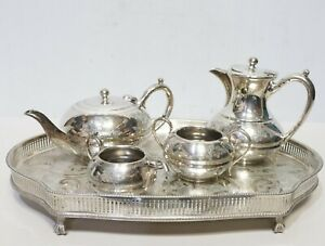 vtg Cooper Bros SILVER PLATED Hand Engraved Tea Set Service Tray Coffee Pot -213