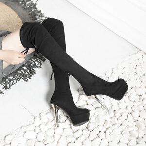 Platform Fashion Rund Schnürer Damenschuhe Franse Overknee Stiefel Stilettos Neu