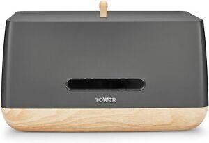 Tower T826030G Bread Bin, Scandi Range, Plastic Body, Anti Slip Base, Grey