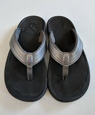 NWOT Women's Size 5 OluKai Ohana Flip Flop Sandals In Gunmetal Grey